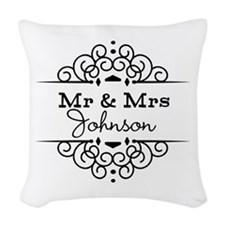 Personalized Mr and Mrs Woven Throw Pillow
