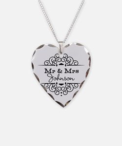 Personalized Mr and Mrs Necklace Heart Charm