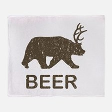 Beer Bear Deer Throw Blanket