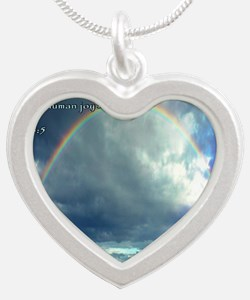 Psalm 128-5 Full Rainbow Silver Heart Necklace
