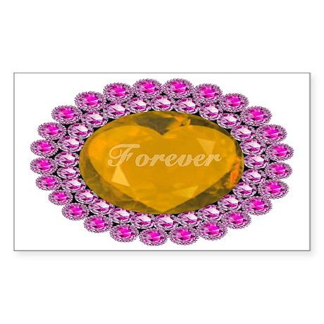 Forever_heart_broach_goldensap Sticker (Rectangle)