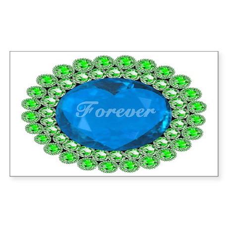Forever_heart_broach_bluediamo Sticker (Rectangle)