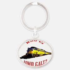 johngalt_red_10x10_train Oval Keychain