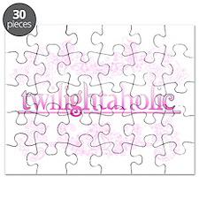 Twilightaholic Floral Pink White Puzzle