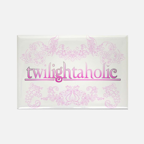 Twilightaholic Floral Pink White Rectangle Magnet