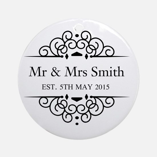 Custom Couples Name and wedding date Ornament (Rou