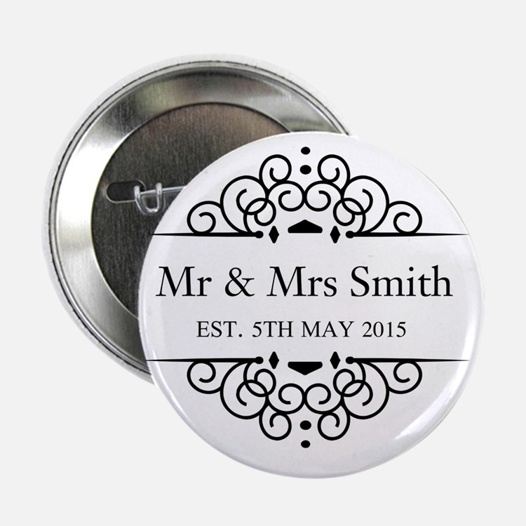 """Custom Couples Name and wedding date 2.25"""" Button"""