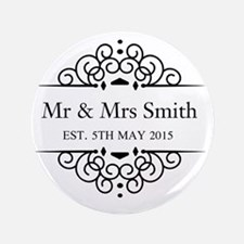 "Custom Couples Name and wedding date 3.5"" Button"