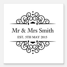 Custom Couples Name and wedding date Square Car Ma