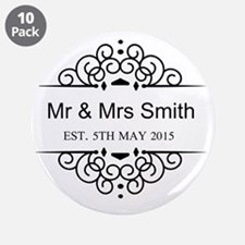 "Custom Couples Name and wedding date 3.5"" Button ("