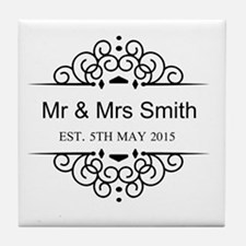Custom Couples Name and wedding date Tile Coaster