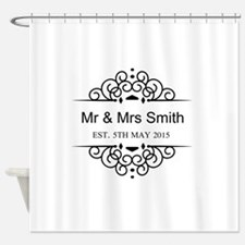 Custom Couples Name and wedding date Shower Curtai