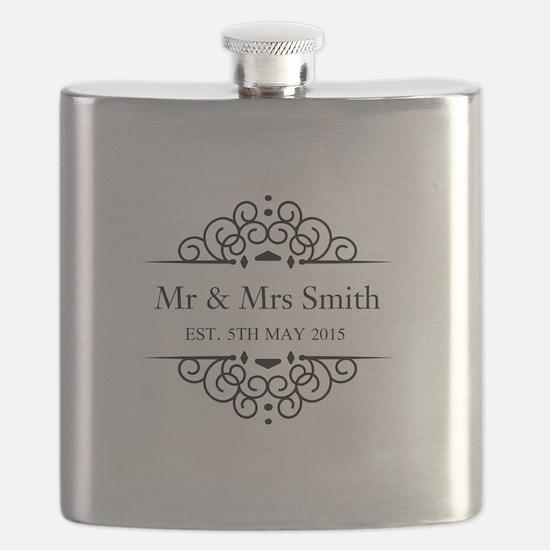 Custom Couples Name and wedding date Flask
