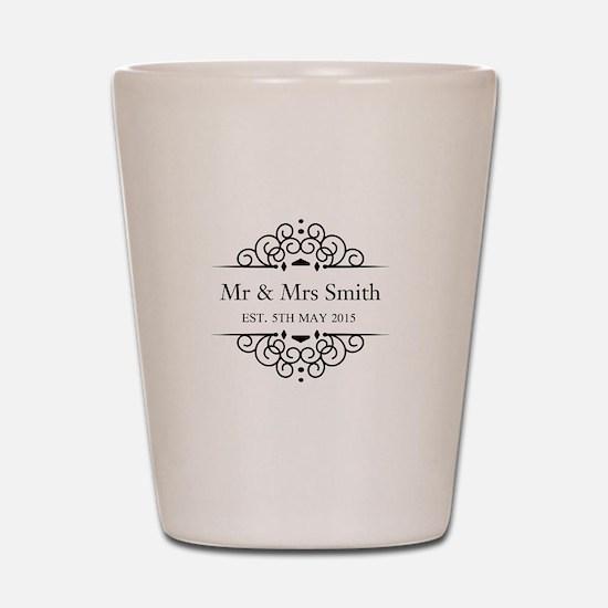 Custom Couples Name and wedding date Shot Glass