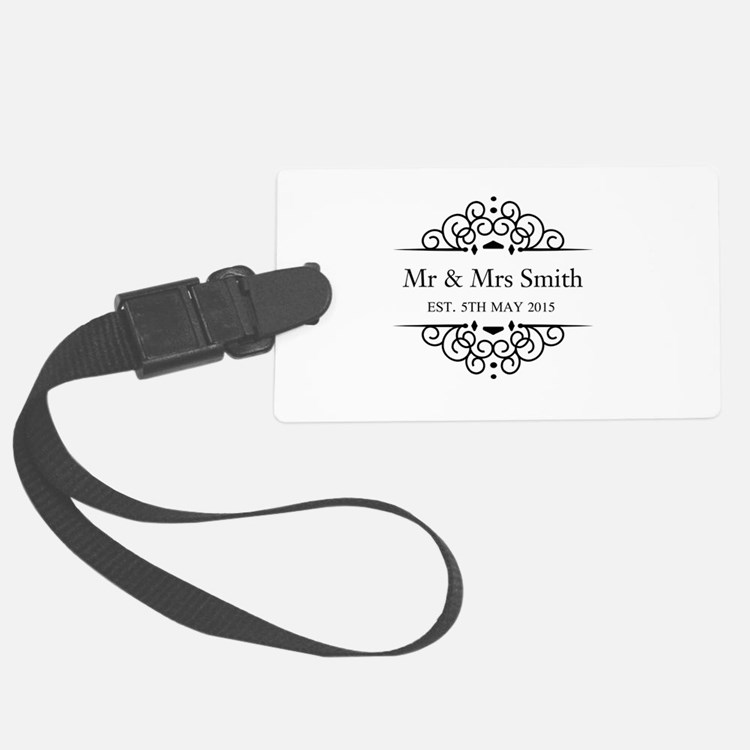 Custom Couples Name and wedding date Luggage Tag