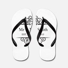 Custom Couples Name and wedding date Flip Flops
