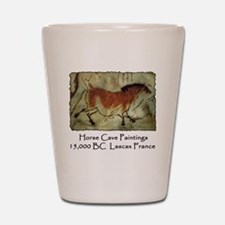 cave horse paintings Shot Glass