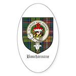 Bouchannane Clan Crest Tartan Oval Sticker