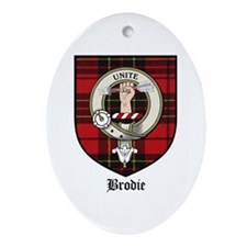 Brodie Clan Crest Tartan Oval Ornament