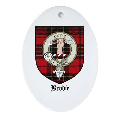 Brodie Clan Crest Tartan Oval Ornament