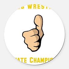 Thumb Wrestling Yellow Round Car Magnet