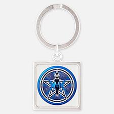 Blue Goddess Pentacle - 02 Square Keychain