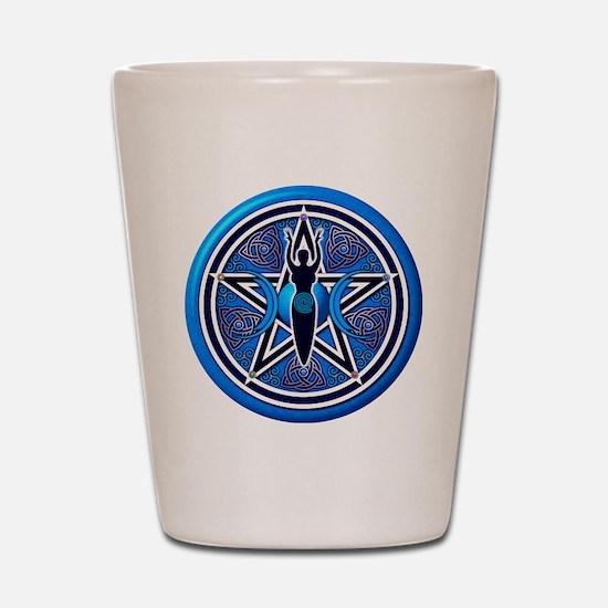 Blue Goddess Pentacle - 02 Shot Glass