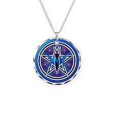 Blue-Purple Goddess Pentacle Necklace Circle Charm