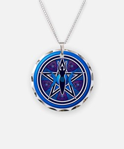 Blue-Purple Goddess Pentacle Necklace Circle Charm