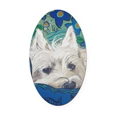 Westie5x7V Oval Car Magnet