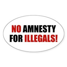 No Amnesty for Illegals Oval Decal
