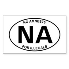 No Amnesty Oval Design Rectangle Decal