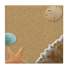 Sand and Shells Beach Print Tile Coaster