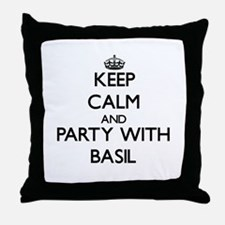 Keep Calm and Party with Basil Throw Pillow