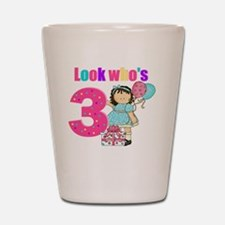 birthday 3 girl Shot Glass