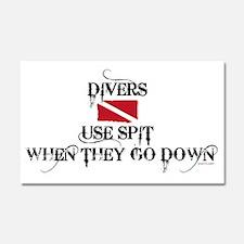Divers Use Spit - White Car Magnet 20 x 12