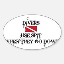 Divers Use Spit - White Sticker (Oval)