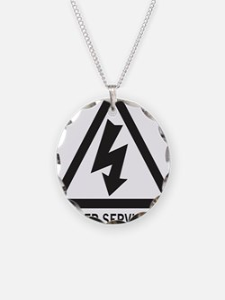 DangerElectricShockRisk1 Necklace Circle Charm