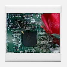 motherboard-tshirt-whttxt Tile Coaster