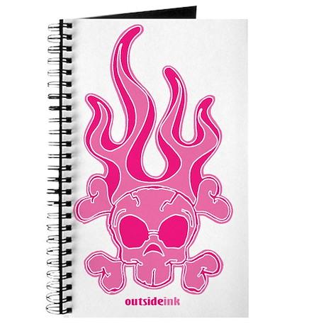flaming skull pink-pink Journal