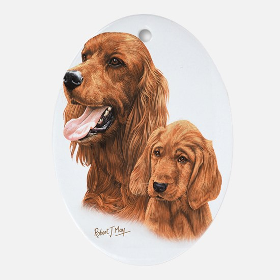 Irish Setter  Pup Oval Ornament