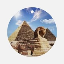 Sphinx and Egyptian Pyramids Ornament (Round)