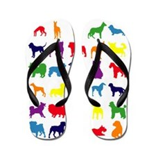 Dark-Rainbow Flip Flops