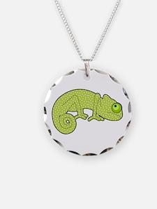 Cute Green Polka Dot Chameleon Necklace
