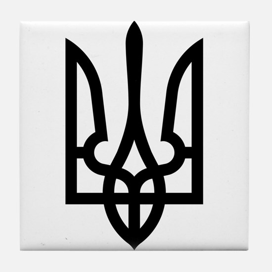 Tryzub (Black) Tile Coaster