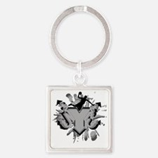NYC BBALL Square Keychain