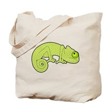 Cute Green Polka Dot Chameleon Tote Bag