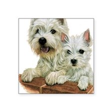 "Westie  Pup Square Sticker 3"" x 3"""