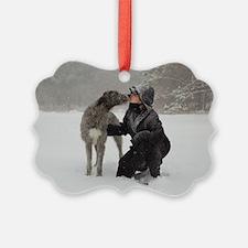 Kissing Irish Wolfhound Ornament