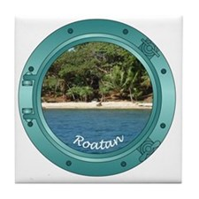 RoatanBeach-Porthole Tile Coaster